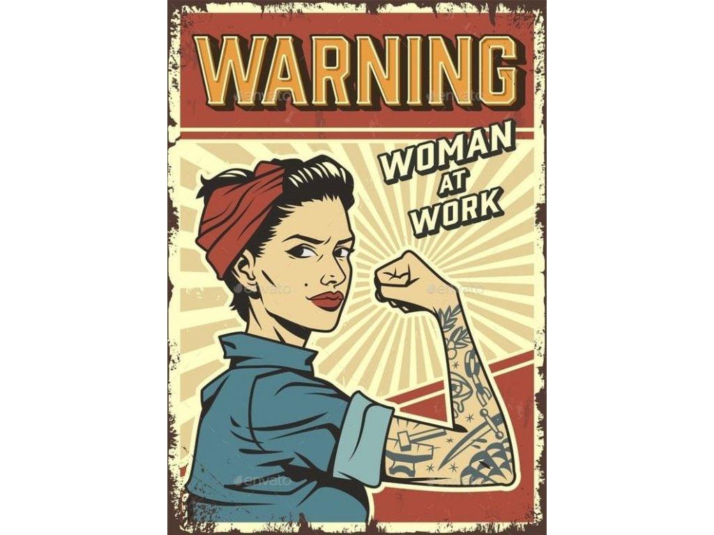 warning woman at work