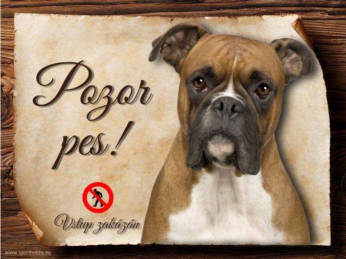 Cedulka Boxer - Pozor pes zákaz/CP219