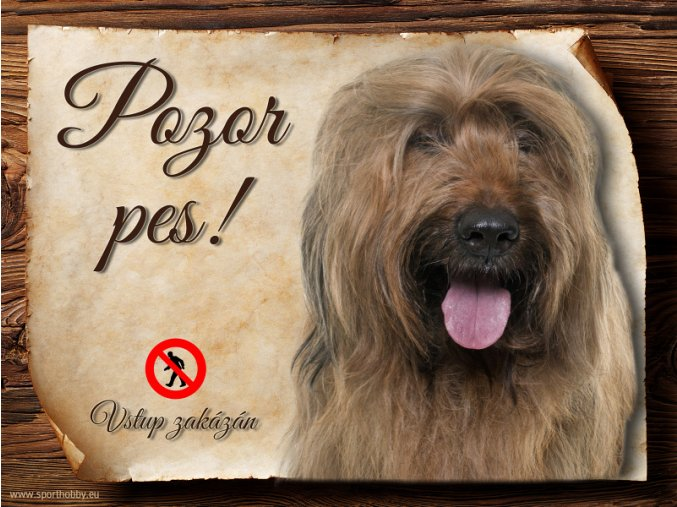 Cedulka Briard II - Pozor pes zákaz/CP419