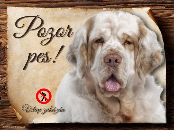 Cedulka Clumber španěl - Pozor pes zákaz/CP305