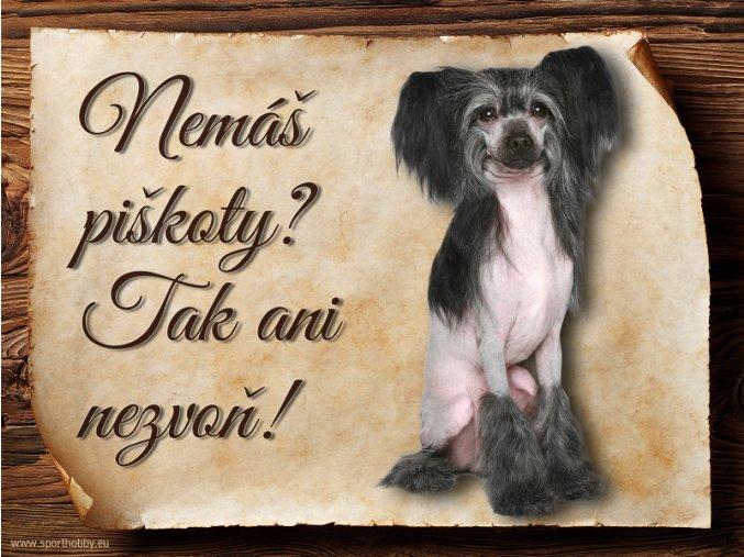 Cedulka Čínský chocholatý pes - Piškoty/CP633