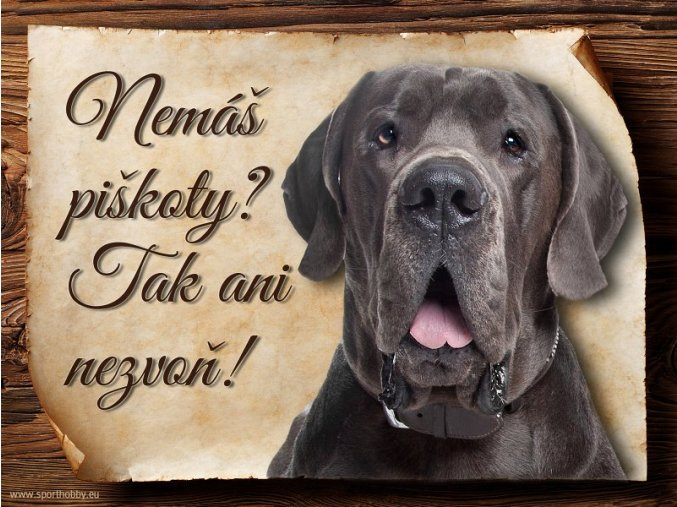 Cedulka Dánská doga - Piškoty/CP259