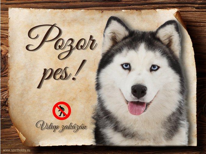 Cedulka Husky - Pozor pes zákaz/CP395