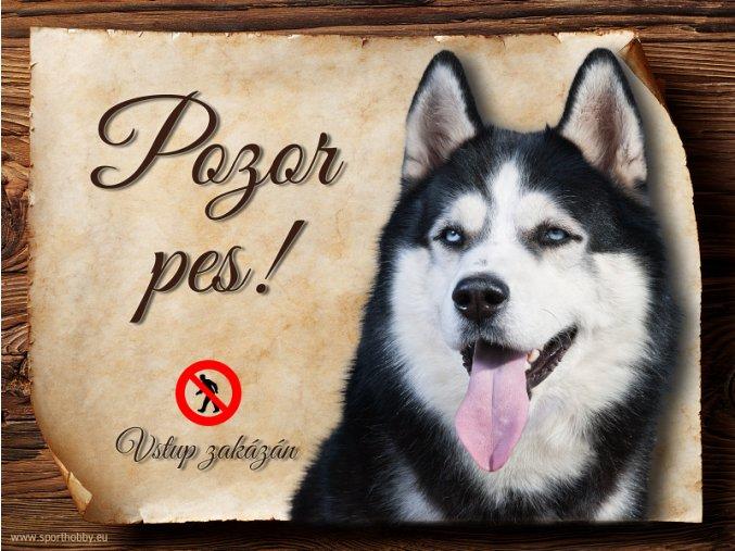 Cedulka Husky II - Pozor pes zákaz/CP453