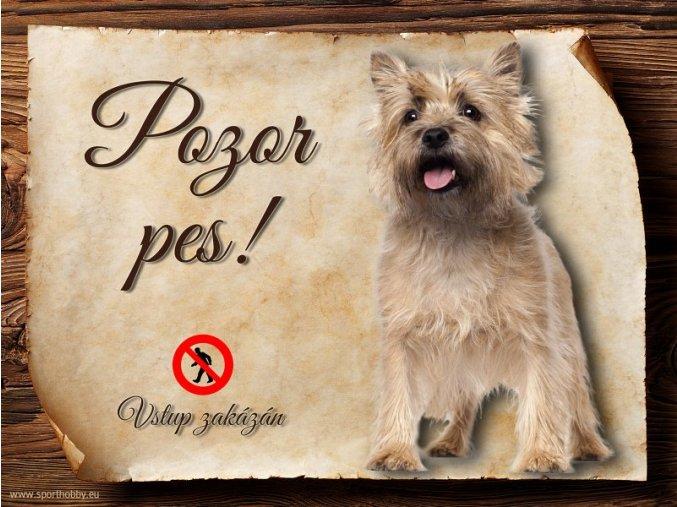 Cedulka Kernterier - Pozor pes zákaz/CP389