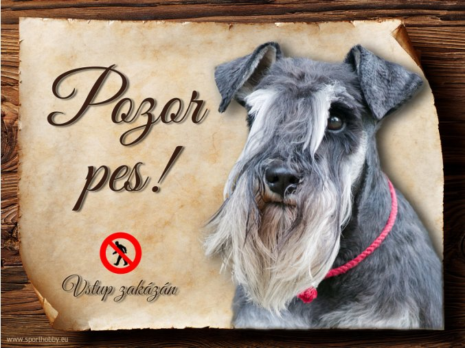 Cedulka Knírač II - Pozor pes zákaz/CP431