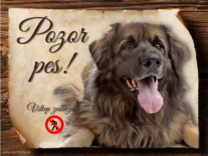 Cedulka Leonberger II - Pozor pes zákaz/CP652