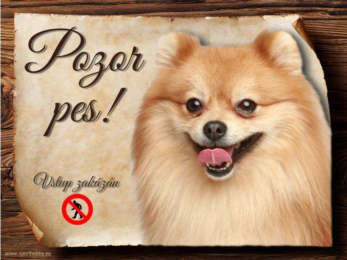 Cedulka Německý špic II - Pozor pes zákaz/CP585