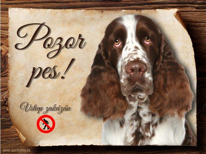 Cedulka Anglický špringeršpaněl - Pozor pes zákaz/CP591