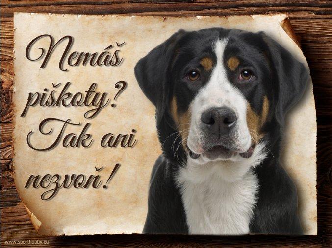 Cedulka Švýcarský salašnický pes - Piškoty/CP480