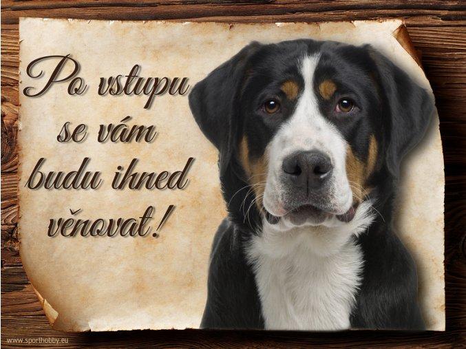 Cedulka Švýcarský salašnický pes - Po vstupu .../CP481