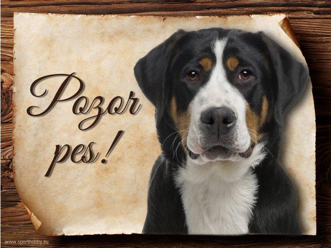Cedulka Švýcarský salašnický pes - Pozor pes/CP479