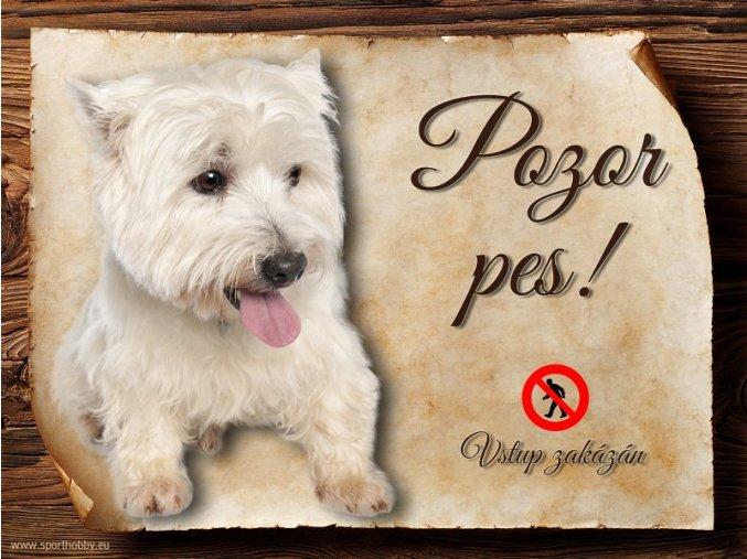 Cedulka Westík - Pozor pes zákaz/CP055