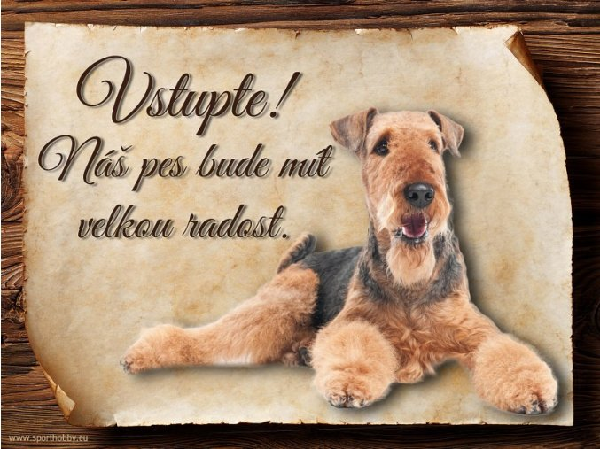 Cedulka Airedalský Terrier - Vstupte/CP112