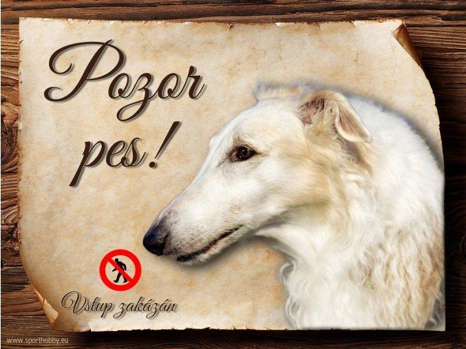 Cedulka Barzoj - Pozor pes zákaz/CP135