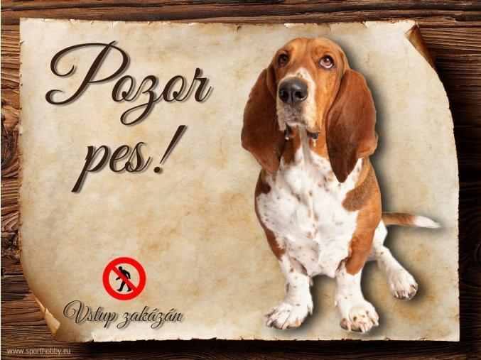 Cedulka Baset - Pozor pes zákaz/CP165