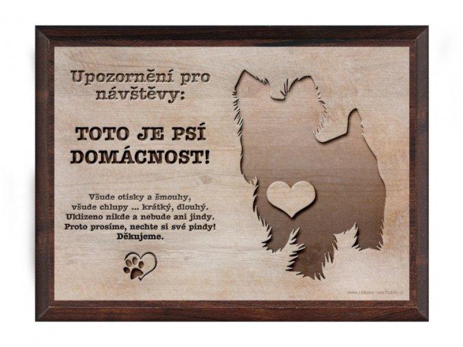 Cedulka dřevo 20x15 CD6009 Yokrshírský teriér