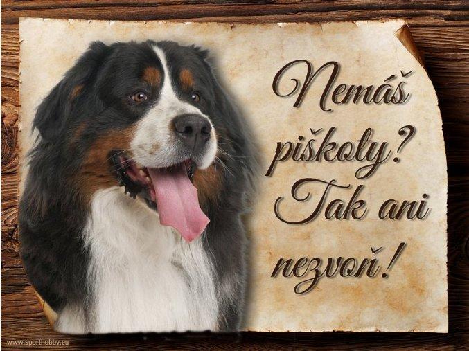 Cedulka Bernský salašnický pes - Piškoty/CP058