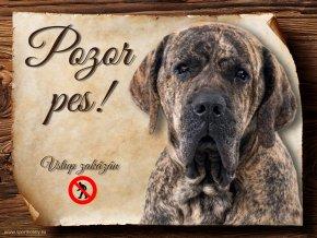 Cedulka Brazilská Fila - Pozor pes zákaz/CP658