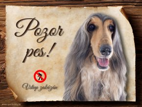 Cedulka Afghánský chrt II - Pozor pes zákaz/CP465