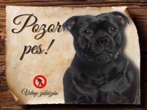 Cedulka Stafordšírský bulteriér - Pozor pes zákaz/CP267