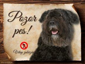 Cedulka Flanderský bouvier - Pozor pes zákaz/CP459