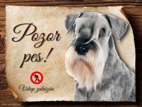 Cedulka Knírač - Pozor pes zákaz/CP407