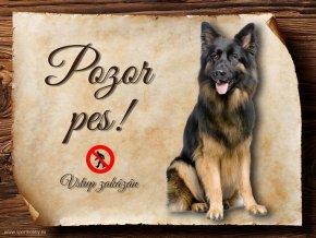 Cedulka Německý ovčák I - Pozor pes zákaz/CP123