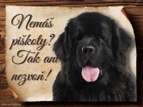 Cedulka Novofundlandský pes - Piškoty/CP038
