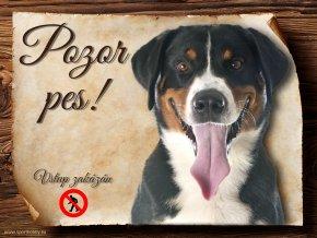 Cedulka Appenzelský salašnický pes - Pozor pes zákaz/CP494