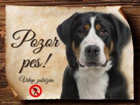 Cedulka Švýcarský salašnický pes - Pozor pes zákaz/CP482