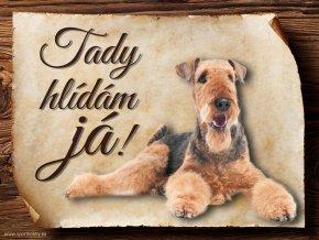 Cedulka Airedalský Terrier - Tady hlídám já/CP107