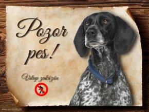 Cedulka Auvergneský ohař - Pozor pes zákaz/CP628