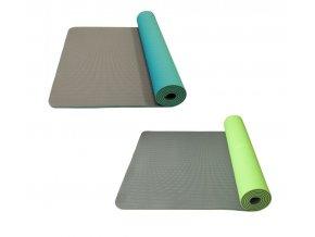 yogamat tyrkys zelená šedá