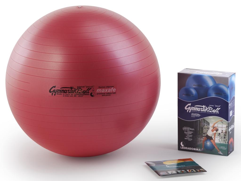 Sada Gymnastik Ball Maxafe 65 cm + kniha a DVD Janošková barva: červená