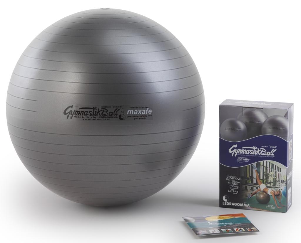 Sada Gymnastik Ball Maxafe 65 cm + kniha a DVD Janošková barva: šedo-stříbrná