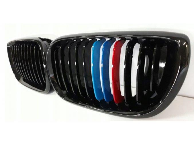 Přední maska, ledvinky, mřížky BMW 3 E46 (01-04) trikolora ///M - sada L+P