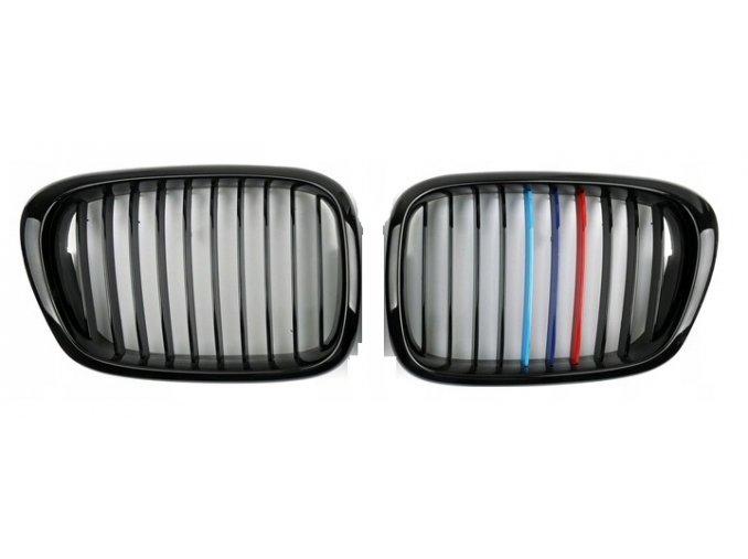 Přední maska, ledvinky, mřížky BMW 5 E39 (00-04) TRIKOLORA ///M - sada L+P