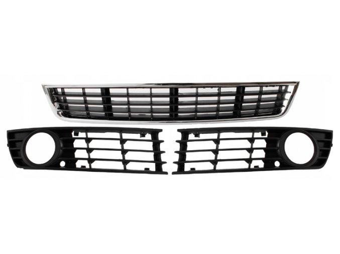 MŘÍŽKA PŘEDNÍHO NÁRAZNÍKU / STŘED + L + P / SADA, Audi A4 B6