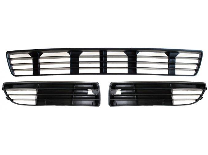 MŘÍŽKA PŘEDNÍHO NÁRAZNÍKU / STŘED + L + P / SADA, Audi A4 B5 1994-2000