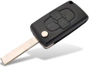 Náhradní obal klíče 4-tlačítkový, PEUGEOT 807 1007 5008 CITROEN C8 (HU83)
