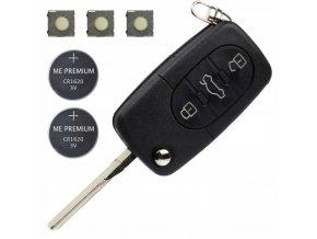 Náhradní obal klíče 3-tlačítkový AUDI VOLKSWAGEN (HU66) + Baterie
