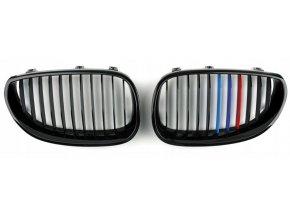 Přední maska, ledvinky, mřížky BMW 5 E60 (03-) trikolora ///M - sada L+P