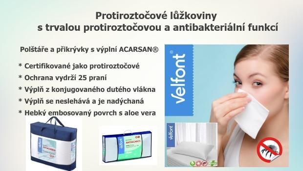 Protiroztočové přikrývky a polštáře