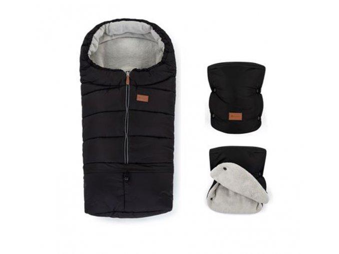 PETITE&MARS Zimný set fusak Jibot 3v1 + rukavice na kočík Jasie Ink Black