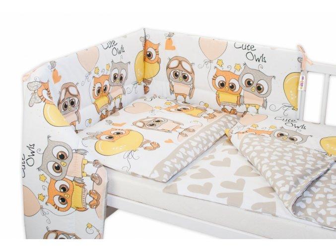 98364 163592 3 dielna sada mantinel s oblieckami cute owls bezova