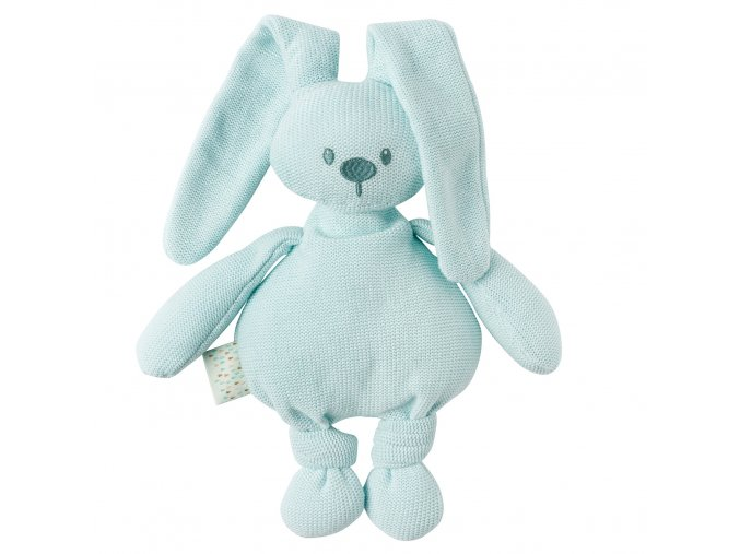 pletená bavlnená hračka zajačik cuddly - mint 36 cm