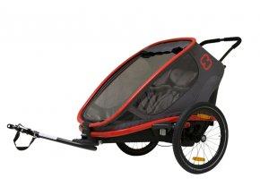 HAMAX Outback 2v1 - dvojmiestny vozík za bicykel vr. ramena + kočíkový set Grey/Red/Antracit poloh.