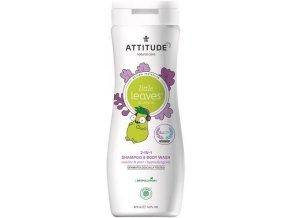 ATTITUDE Detské telové mydlo a šampón (2v1) Little leaves s vôňou vanilky a hrušky 473 ml