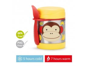 SKIP HOP Zoo Termoska na jedlo s lyžičko-vidličkou Opička 325 ml, 12 m+